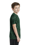 Sport-Tek YST370 Youth CamoHex Moisture Wicking Short Sleeve Crewneck T-Shirt Forest Green Side