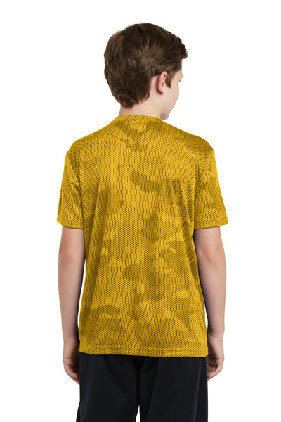Sport-Tek YST370 Youth CamoHex Moisture Wicking Short Sleeve Crewneck T-Shirt Gold Back
