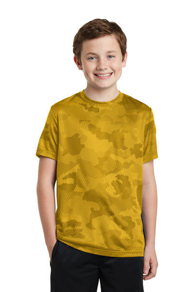Sport-Tek YST370 Youth CamoHex Moisture Wicking Short Sleeve Crewneck T-Shirt Gold Front