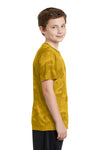 Sport-Tek YST370 Youth CamoHex Moisture Wicking Short Sleeve Crewneck T-Shirt Gold Side
