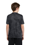Sport-Tek YST370 Youth CamoHex Moisture Wicking Short Sleeve Crewneck T-Shirt Iron Grey Back