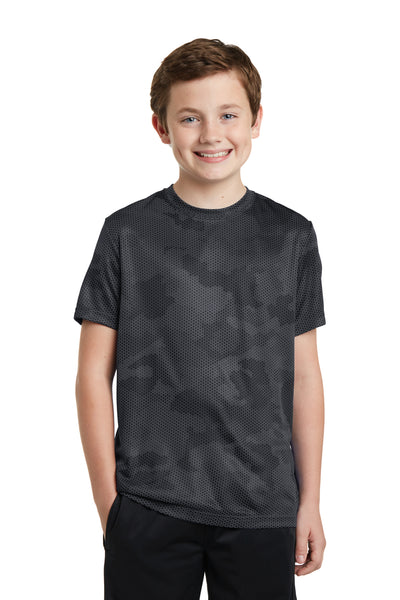Sport-Tek YST370 Youth CamoHex Moisture Wicking Short Sleeve Crewneck T-Shirt Iron Grey Front