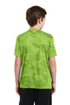 Sport-Tek YST370 Youth CamoHex Moisture Wicking Short Sleeve Crewneck T-Shirt Lime Green Back