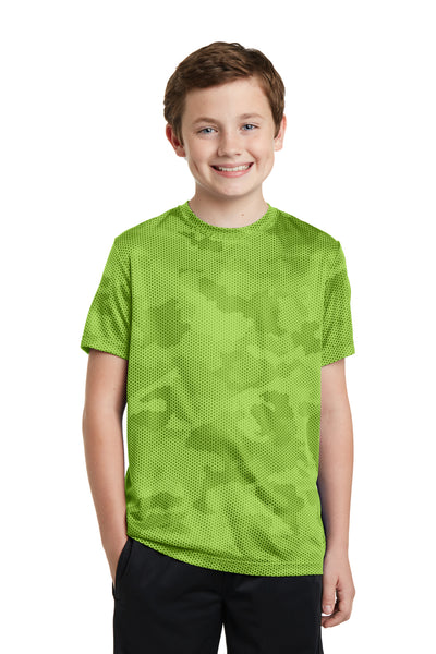 Sport-Tek YST370 Youth CamoHex Moisture Wicking Short Sleeve Crewneck T-Shirt Lime Green Front