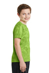 Sport-Tek YST370 Youth CamoHex Moisture Wicking Short Sleeve Crewneck T-Shirt Lime Green Side