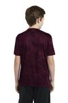 Sport-Tek YST370 Youth CamoHex Moisture Wicking Short Sleeve Crewneck T-Shirt Maroon Back