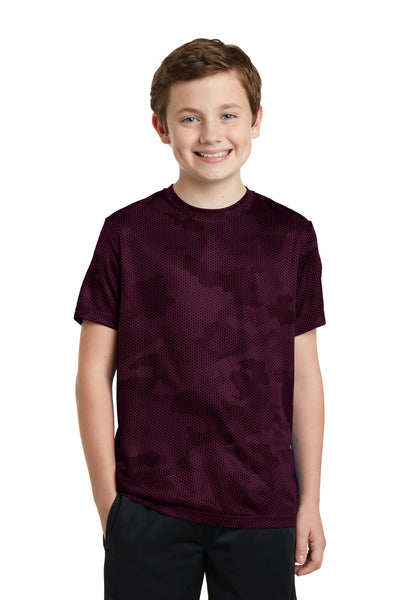 Sport-Tek YST370 Youth CamoHex Moisture Wicking Short Sleeve Crewneck T-Shirt Maroon Front