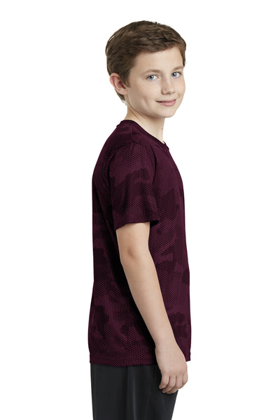 Sport-Tek YST370 Youth CamoHex Moisture Wicking Short Sleeve Crewneck T-Shirt Maroon Side