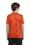 Sport-Tek YST370 Youth CamoHex Moisture Wicking Short Sleeve Crewneck T-Shirt Orange Back