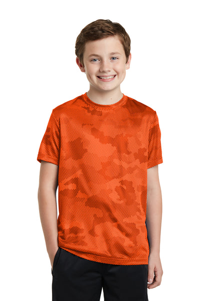 Sport-Tek YST370 Youth CamoHex Moisture Wicking Short Sleeve Crewneck T-Shirt Orange Front