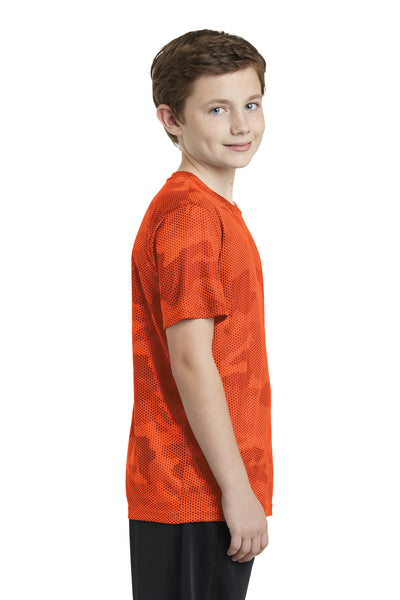 Sport-Tek YST370 Youth CamoHex Moisture Wicking Short Sleeve Crewneck T-Shirt Orange Side