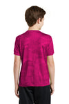 Sport-Tek YST370 Youth CamoHex Moisture Wicking Short Sleeve Crewneck T-Shirt Fuchsia Pink Back