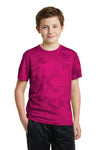 Sport-Tek YST370 Youth CamoHex Moisture Wicking Short Sleeve Crewneck T-Shirt Fuchsia Pink Front