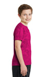 Sport-Tek YST370 Youth CamoHex Moisture Wicking Short Sleeve Crewneck T-Shirt Fuchsia Pink Side