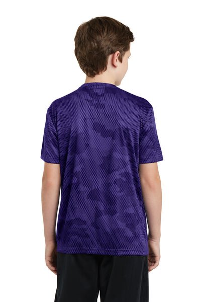 Sport-Tek YST370 Youth CamoHex Moisture Wicking Short Sleeve Crewneck T-Shirt Purple Back
