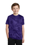 Sport-Tek YST370 Youth CamoHex Moisture Wicking Short Sleeve Crewneck T-Shirt Purple Front