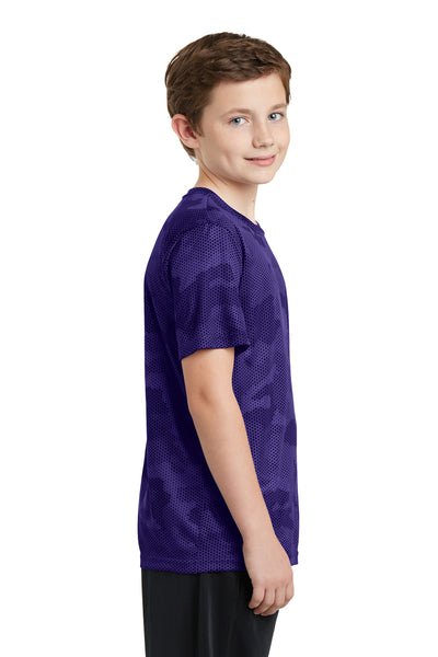 Sport-Tek YST370 Youth CamoHex Moisture Wicking Short Sleeve Crewneck T-Shirt Purple Side