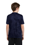 Sport-Tek YST370 Youth CamoHex Moisture Wicking Short Sleeve Crewneck T-Shirt Navy Blue Back