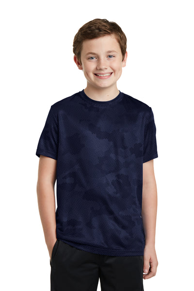 Sport-Tek YST370 Youth CamoHex Moisture Wicking Short Sleeve Crewneck T-Shirt Navy Blue Front