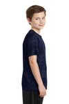 Sport-Tek YST370 Youth CamoHex Moisture Wicking Short Sleeve Crewneck T-Shirt Navy Blue Side