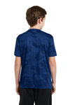 Sport-Tek YST370 Youth CamoHex Moisture Wicking Short Sleeve Crewneck T-Shirt Royal Blue Back