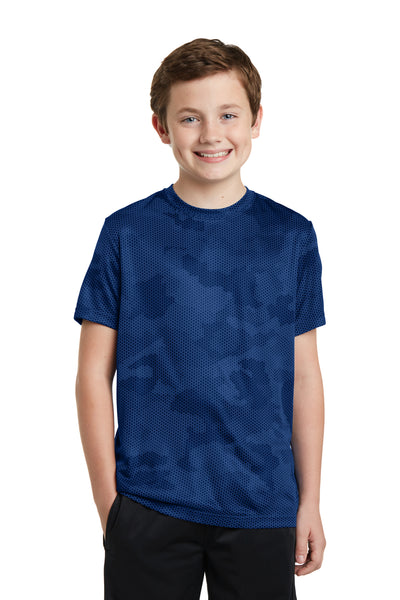 Sport-Tek YST370 Youth CamoHex Moisture Wicking Short Sleeve Crewneck T-Shirt Royal Blue Front