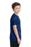 Sport-Tek YST370 Youth CamoHex Moisture Wicking Short Sleeve Crewneck T-Shirt Royal Blue Side