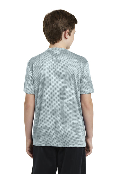 Sport-Tek YST370 Youth CamoHex Moisture Wicking Short Sleeve Crewneck T-Shirt White Back