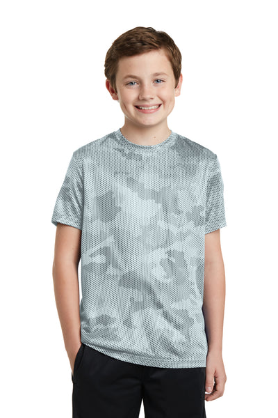 Sport-Tek YST370 Youth CamoHex Moisture Wicking Short Sleeve Crewneck T-Shirt White Front