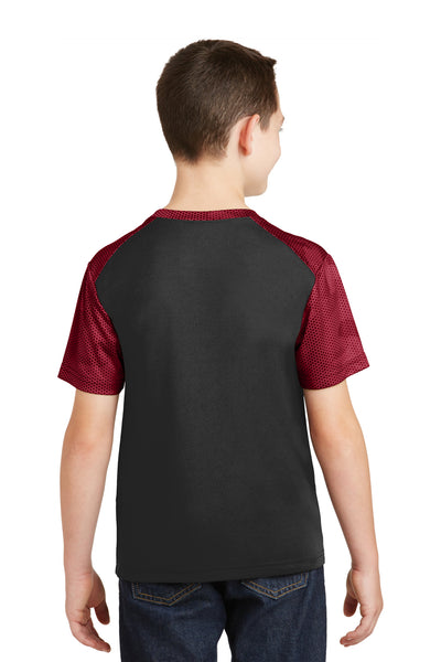 Sport-Tek YST371 Youth CamoHex Moisture Wicking Short Sleeve Crewneck T-Shirt Black/Red Back