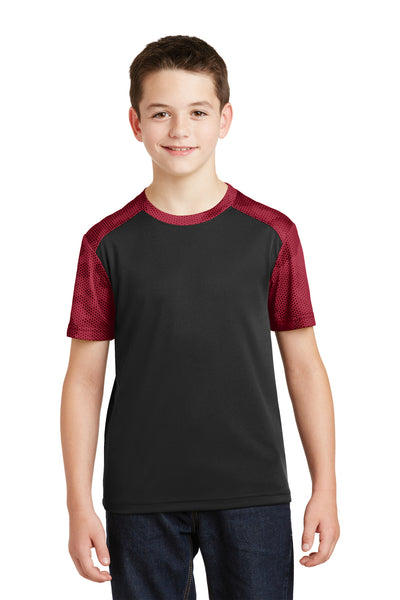 Sport-Tek YST371 Youth CamoHex Moisture Wicking Short Sleeve Crewneck T-Shirt Black/Red Front