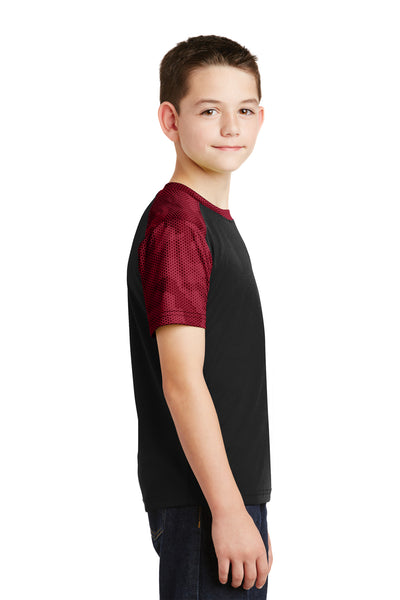 Sport-Tek YST371 Youth CamoHex Moisture Wicking Short Sleeve Crewneck T-Shirt Black/Red Side