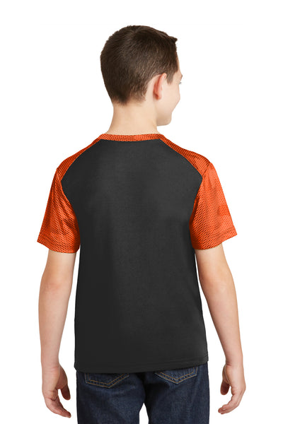 Sport-Tek YST371 Youth CamoHex Moisture Wicking Short Sleeve Crewneck T-Shirt Black/Orange Back