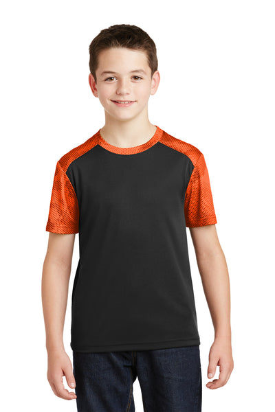 Sport-Tek YST371 Youth CamoHex Moisture Wicking Short Sleeve Crewneck T-Shirt Black/Orange Front