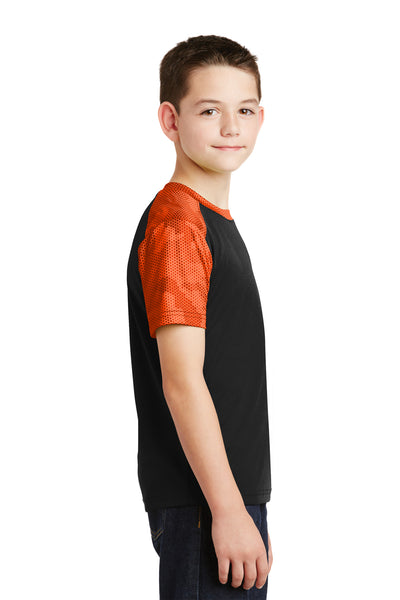 Sport-Tek YST371 Youth CamoHex Moisture Wicking Short Sleeve Crewneck T-Shirt Black/Orange Side