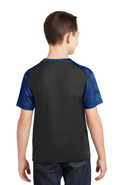 Sport-Tek YST371 Youth CamoHex Moisture Wicking Short Sleeve Crewneck T-Shirt Black/Royal Blue Back