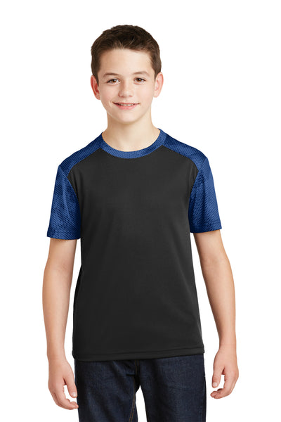 Sport-Tek YST371 Youth CamoHex Moisture Wicking Short Sleeve Crewneck T-Shirt Black/Royal Blue Front
