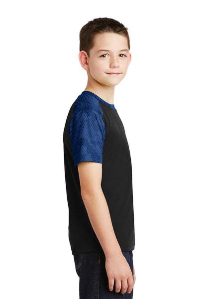 Sport-Tek YST371 Youth CamoHex Moisture Wicking Short Sleeve Crewneck T-Shirt Black/Royal Blue Side