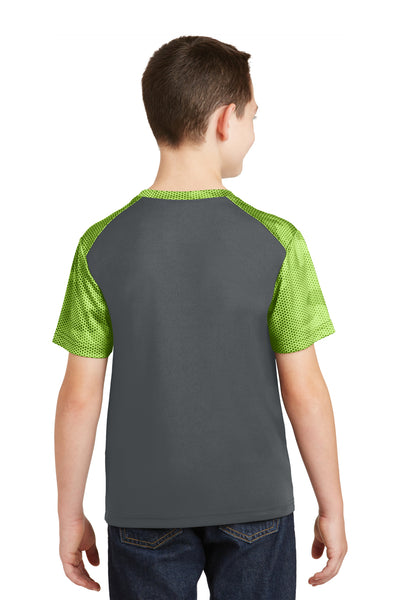 Sport-Tek YST371 Youth CamoHex Moisture Wicking Short Sleeve Crewneck T-Shirt Iron Grey/Lime Green Back