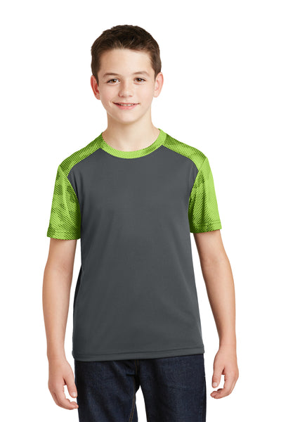 Sport-Tek YST371 Youth CamoHex Moisture Wicking Short Sleeve Crewneck T-Shirt Iron Grey/Lime Green Front
