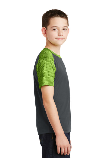 Sport-Tek YST371 Youth CamoHex Moisture Wicking Short Sleeve Crewneck T-Shirt Iron Grey/Lime Green Side