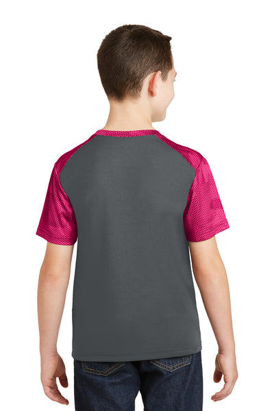 Sport-Tek YST371 Youth CamoHex Moisture Wicking Short Sleeve Crewneck T-Shirt Iron Grey/Fuchsia Pink Back