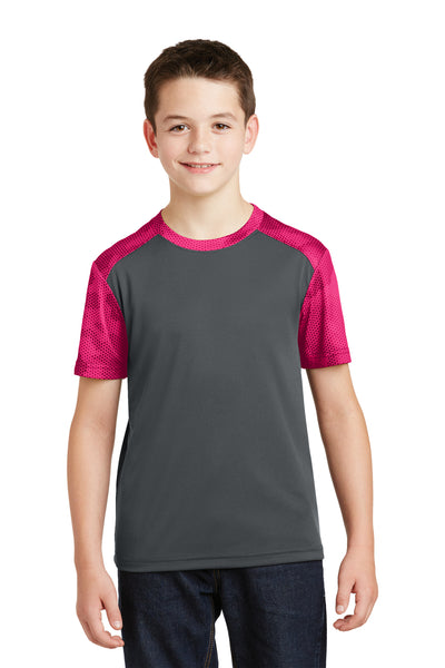 Sport-Tek YST371 Youth CamoHex Moisture Wicking Short Sleeve Crewneck T-Shirt Iron Grey/Fuchsia Pink Front