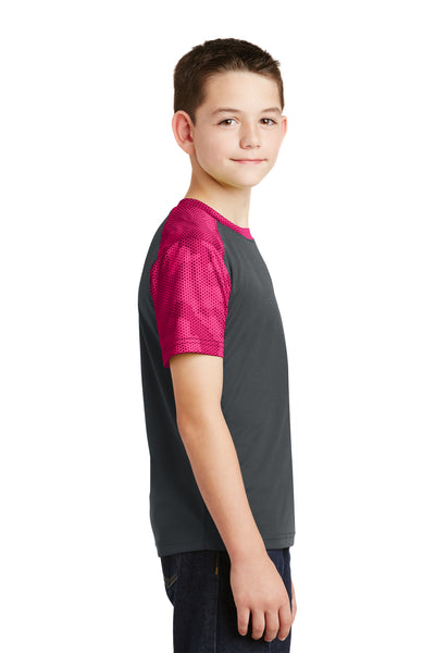 Sport-Tek YST371 Youth CamoHex Moisture Wicking Short Sleeve Crewneck T-Shirt Iron Grey/Fuchsia Pink Side