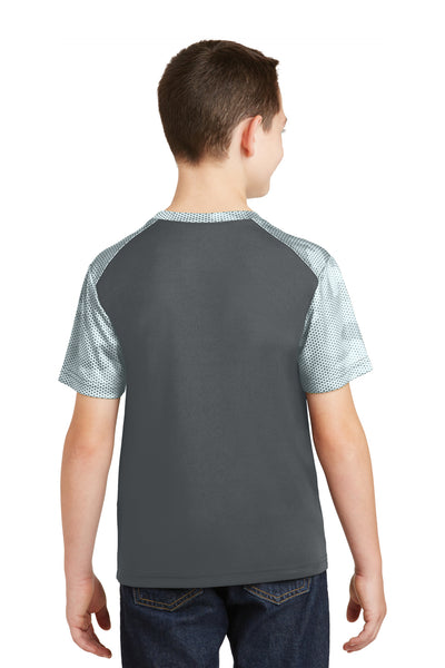 Sport-Tek YST371 Youth CamoHex Moisture Wicking Short Sleeve Crewneck T-Shirt Iron Grey/White Back