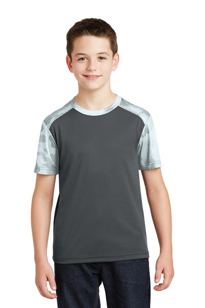 Sport-Tek YST371 Youth CamoHex Moisture Wicking Short Sleeve Crewneck T-Shirt Iron Grey/White Front
