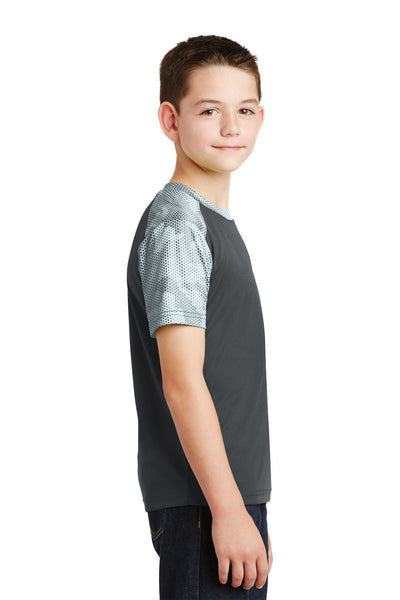 Sport-Tek YST371 Youth CamoHex Moisture Wicking Short Sleeve Crewneck T-Shirt Iron Grey/White Side