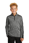 Sport-Tek YST397 Youth Electric Heather Moisture Wicking 1/4 Zip Sweatshirt Black Front