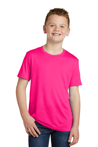 Sport-Tek YST450 Youth Competitor Moisture Wicking Short Sleeve Crewneck T-Shirt Neon Pink Front