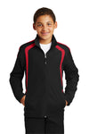 Sport-Tek YST60 Youth Water Resistant Full Zip Jacket Black/Red Front
